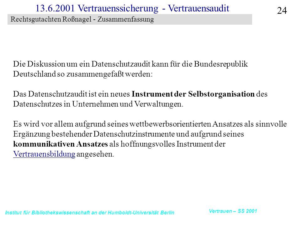 Institut für Bibliothekswissenschaft an der Humboldt-Universität Berlin 24 Vertrauen – SS 2001 13.6.2001 Vertrauenssicherung - Vertrauensaudit Rechtsg