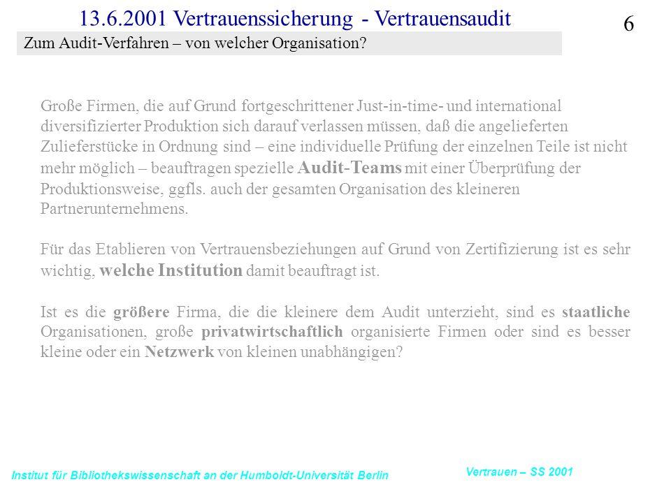 Institut für Bibliothekswissenschaft an der Humboldt-Universität Berlin 6 Vertrauen – SS 2001 13.6.2001 Vertrauenssicherung - Vertrauensaudit Große Fi
