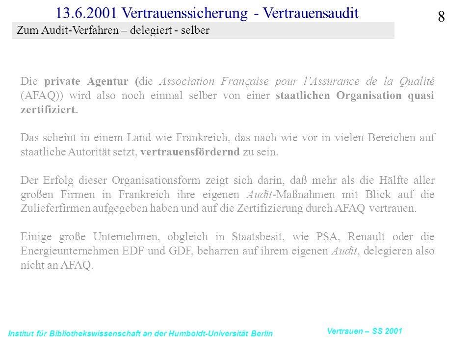 Institut für Bibliothekswissenschaft an der Humboldt-Universität Berlin 8 Vertrauen – SS 2001 13.6.2001 Vertrauenssicherung - Vertrauensaudit Die private Agentur (die Association Fran  aise pour l'Assurance de la Qualité (AFAQ)) wird also noch einmal selber von einer staatlichen Organisation quasi zertifiziert.