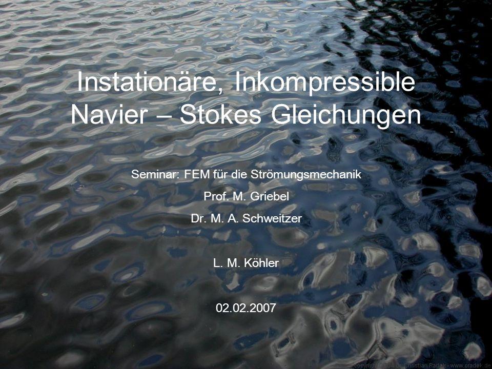 Instationäre, Inkompressible Navier – Stokes Gleichungen Seminar: FEM für die Strömungsmechanik Prof. M. Griebel Dr. M. A. Schweitzer L. M. Köhler 02.