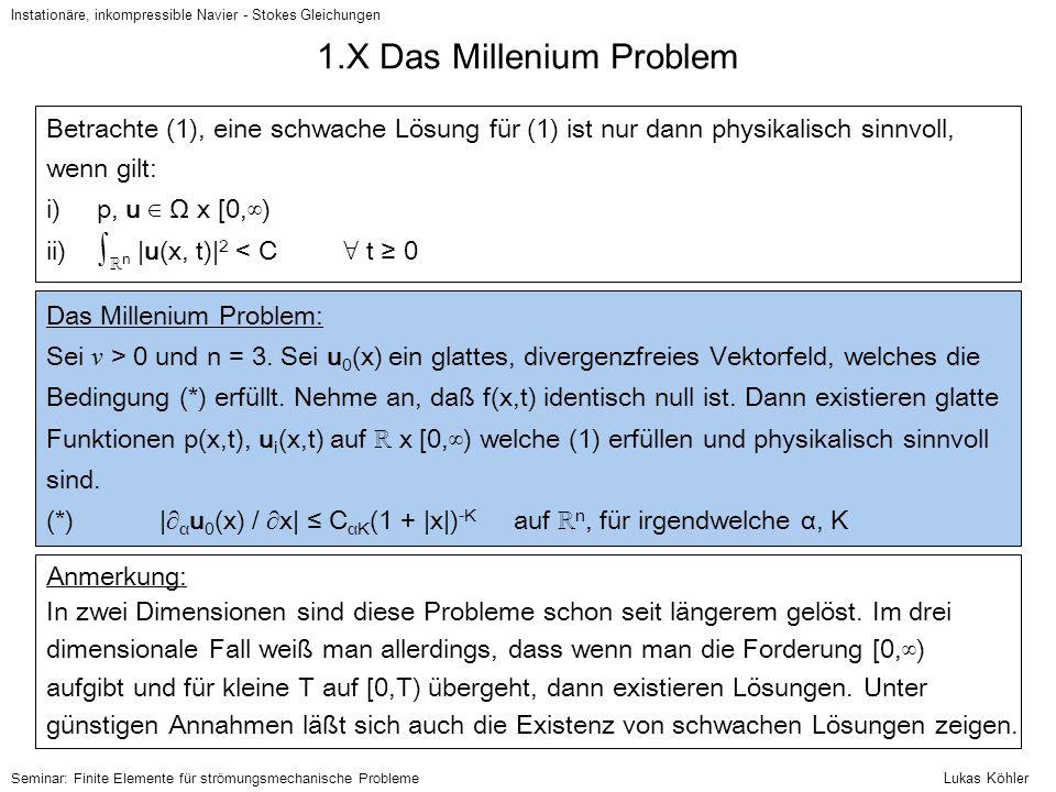 1.X Das Millenium Problem Instationäre, inkompressible Navier - Stokes Gleichungen Seminar: Finite Elemente für strömungsmechanische Probleme Betracht
