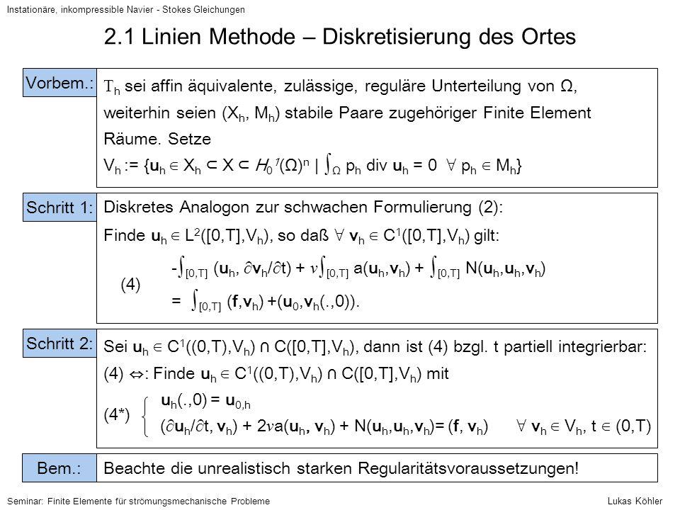 Instationäre, inkompressible Navier - Stokes Gleichungen Seminar: Finite Elemente für strömungsmechanische Probleme Diskretes Analogon zur schwachen F
