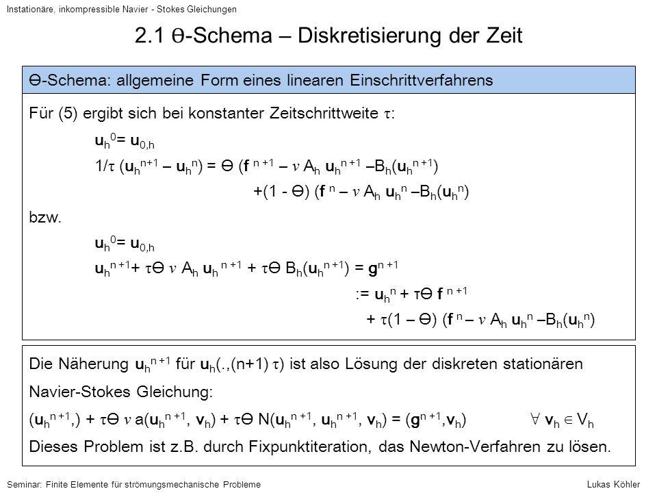 Instationäre, inkompressible Navier - Stokes Gleichungen Seminar: Finite Elemente für strömungsmechanische Probleme 2.1 Ɵ -Schema – Diskretisierung de