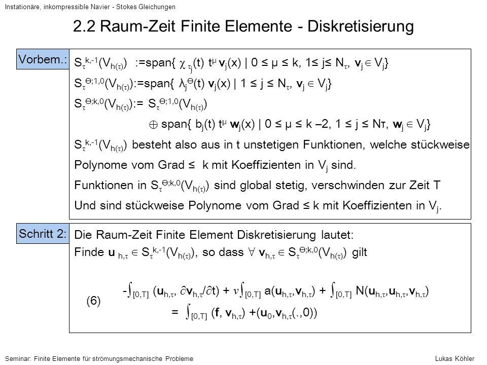 Instationäre, inkompressible Navier - Stokes Gleichungen Seminar: Finite Elemente für strömungsmechanische Probleme 2.2 Raum-Zeit Finite Elemente - Di
