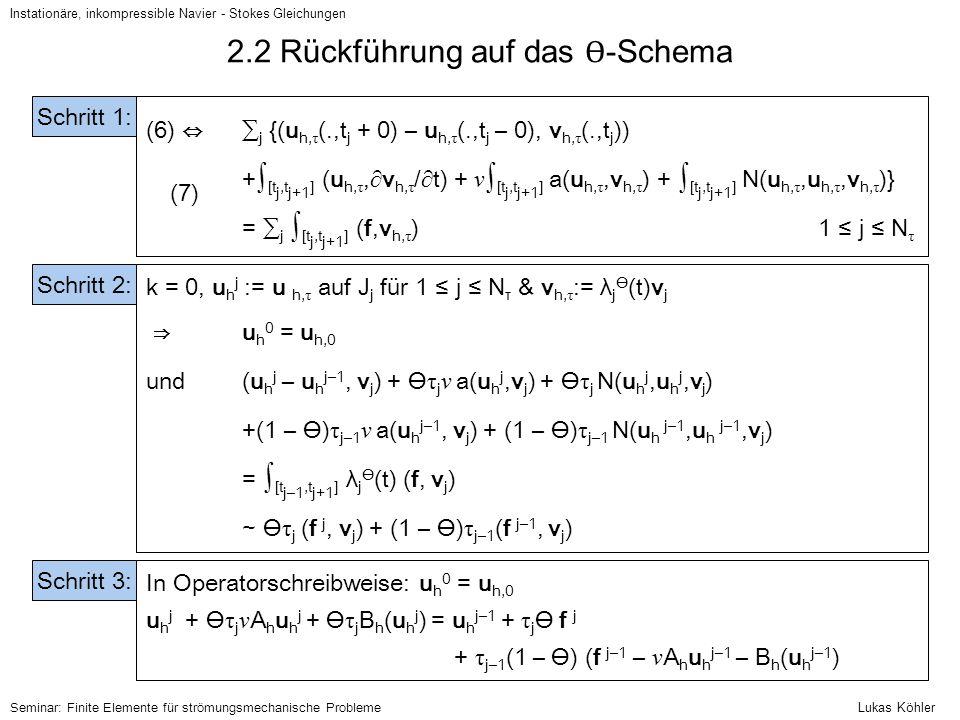 Instationäre, inkompressible Navier - Stokes Gleichungen Seminar: Finite Elemente für strömungsmechanische Probleme 2.2 Rückführung auf das Ɵ -Schema
