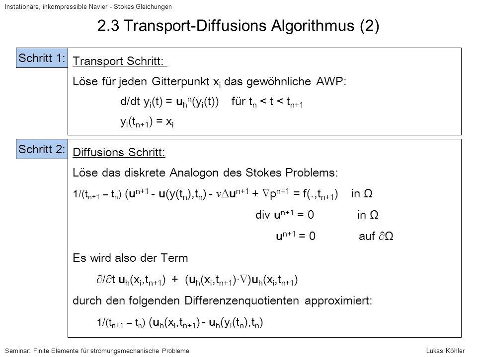 Instationäre, inkompressible Navier - Stokes Gleichungen Seminar: Finite Elemente für strömungsmechanische Probleme 2.3 Transport-Diffusions Algorithm