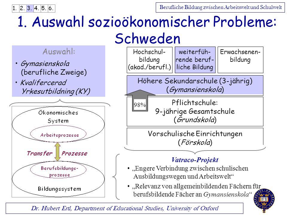 Dr. Hubert Ertl, Department of Educational Studies, University of Oxford Berufliche Bildung zwischen Arbeitswelt und Schulwelt 1. Auswahl sozioökonomi