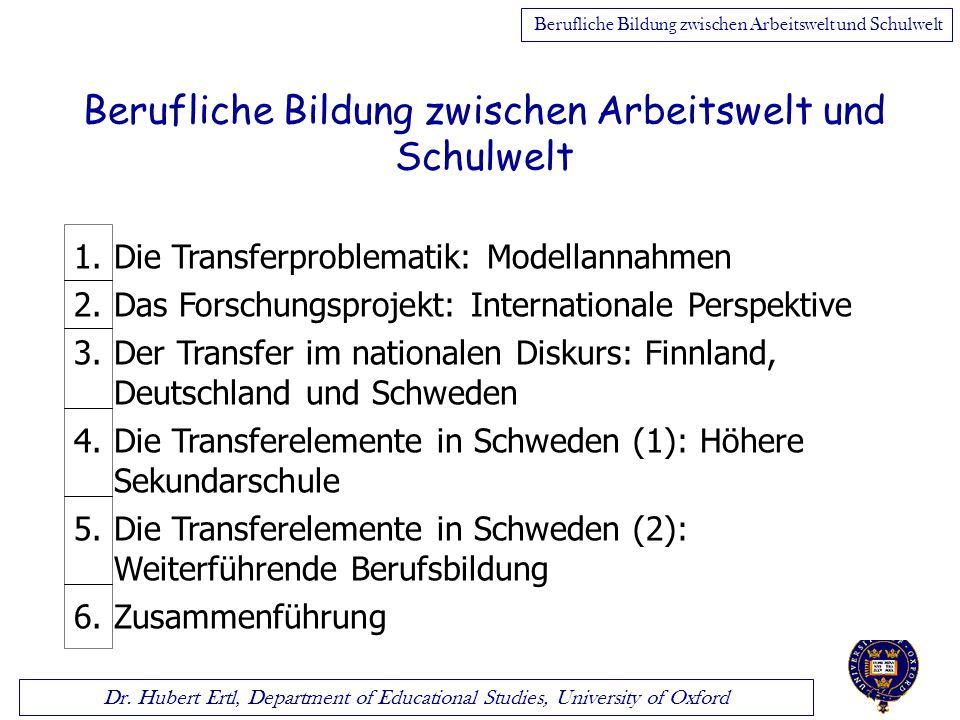 Dr. Hubert Ertl, Department of Educational Studies, University of Oxford Berufliche Bildung zwischen Arbeitswelt und Schulwelt 1.Die Transferproblemat