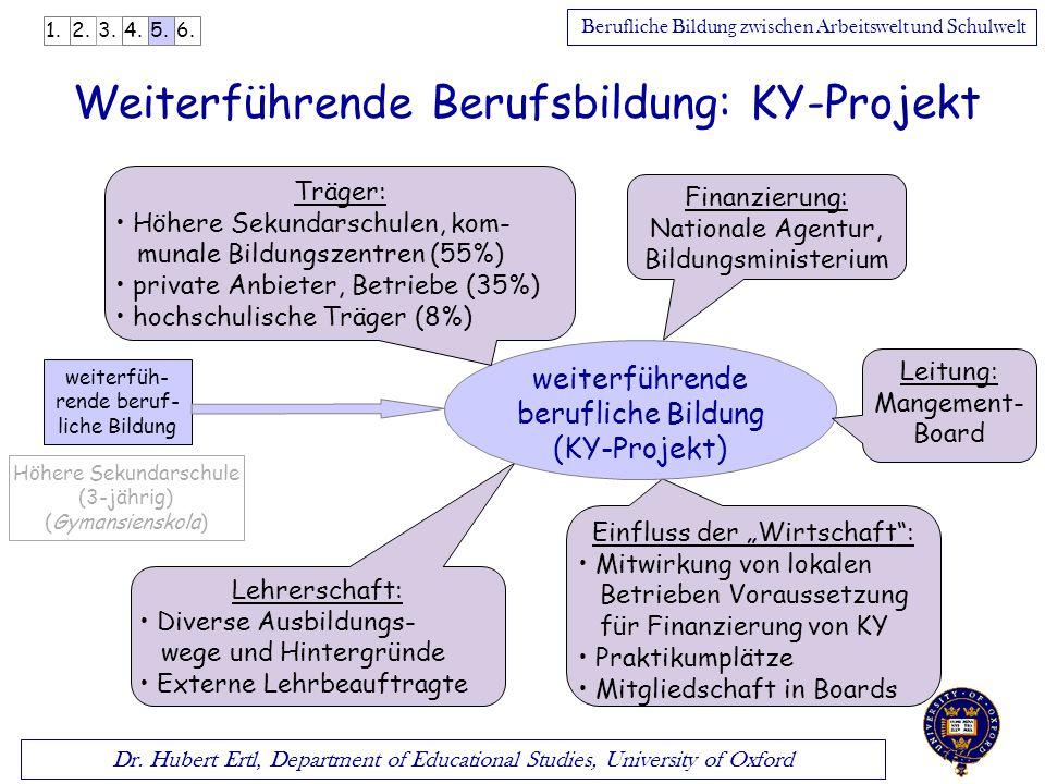 Dr. Hubert Ertl, Department of Educational Studies, University of Oxford Berufliche Bildung zwischen Arbeitswelt und Schulwelt Weiterführende Berufsbi
