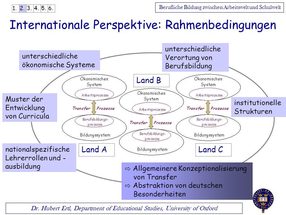 Dr. Hubert Ertl, Department of Educational Studies, University of Oxford Berufliche Bildung zwischen Arbeitswelt und Schulwelt Internationale Perspekt