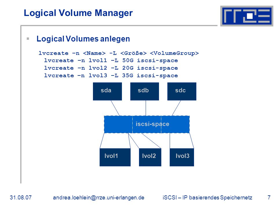 iSCSI – IP basierendes Speichernetz31.08.07andrea.loehlein@rrze.uni-erlangen.de7 Logical Volume Manager  Logical Volumes anlegen lvcreate –n -L lvcreate –n lvol1 –L 50G iscsi-space lvcreate –n lvol2 –L 20G iscsi-space lvcreate –n lvol3 –L 35G iscsi-space sdasdbsdc iscsi-space lvol1lvol2lvol3