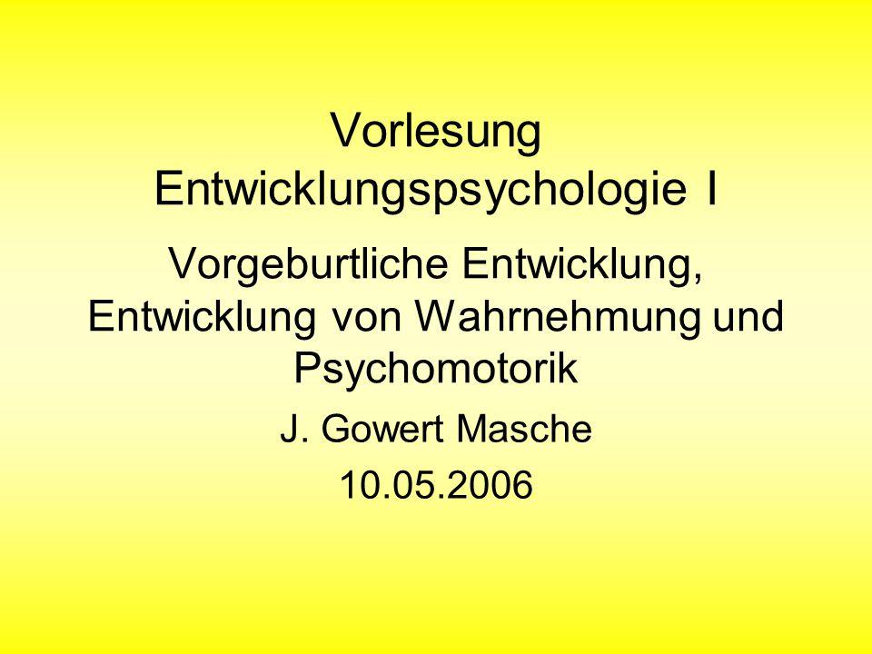 Vorlesung Entwicklungspsychologie I Vorgeburtliche Entwicklung, Entwicklung von Wahrnehmung und Psychomotorik J. Gowert Masche 10.05.2006