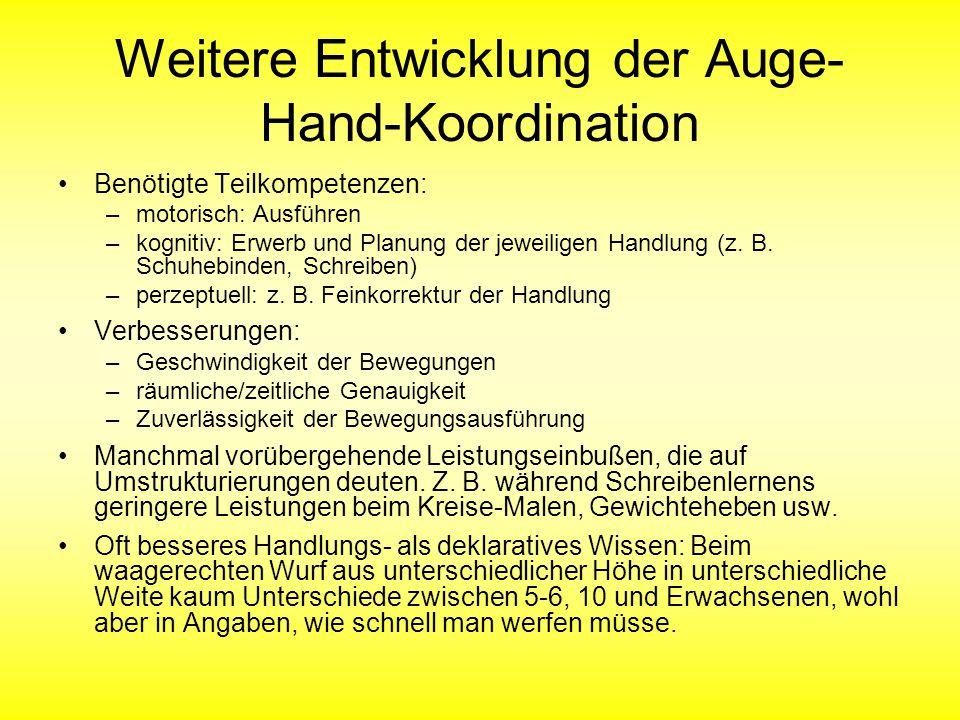 Weitere Entwicklung der Auge- Hand-Koordination Benötigte Teilkompetenzen: –motorisch: Ausführen –kognitiv: Erwerb und Planung der jeweiligen Handlung (z.