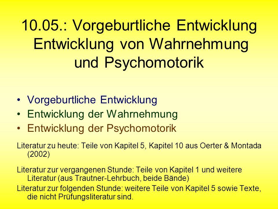10.05.: Vorgeburtliche Entwicklung Entwicklung von Wahrnehmung und Psychomotorik Vorgeburtliche Entwicklung Entwicklung der Wahrnehmung Entwicklung de
