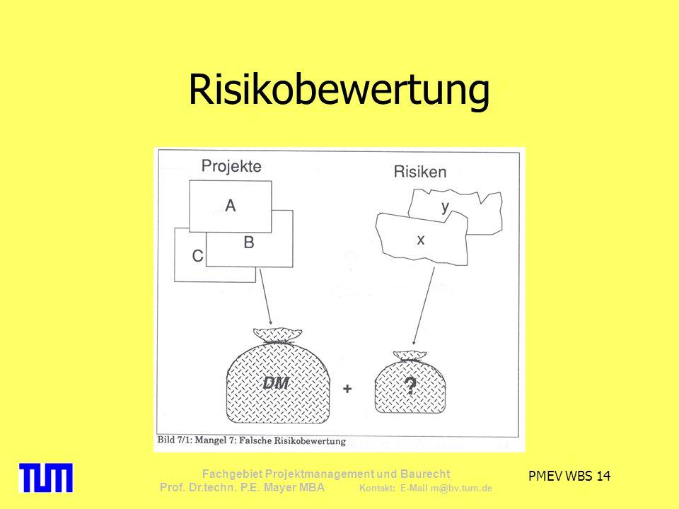 PMEV WBS 14 Fachgebiet Projektmanagement und Baurecht Prof. Dr.techn. P.E. Mayer MBA Kontakt: E-Mail m@bv.tum.de Risikobewertung