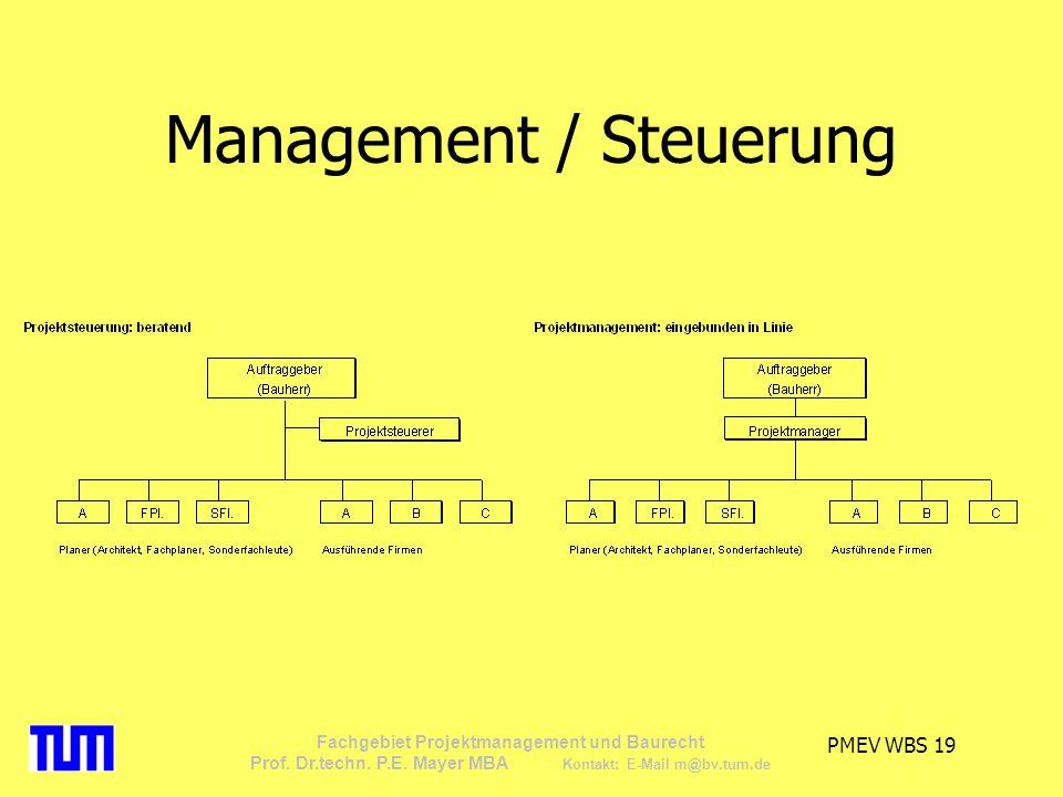 PMEV WBS 19 Fachgebiet Projektmanagement und Baurecht Prof. Dr.techn. P.E. Mayer MBA Kontakt: E-Mail m@bv.tum.de Management / Steuerung