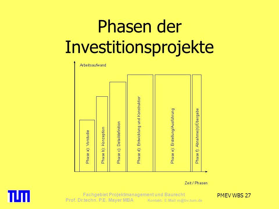 PMEV WBS 27 Fachgebiet Projektmanagement und Baurecht Prof. Dr.techn. P.E. Mayer MBA Kontakt: E-Mail m@bv.tum.de Phasen der Investitionsprojekte