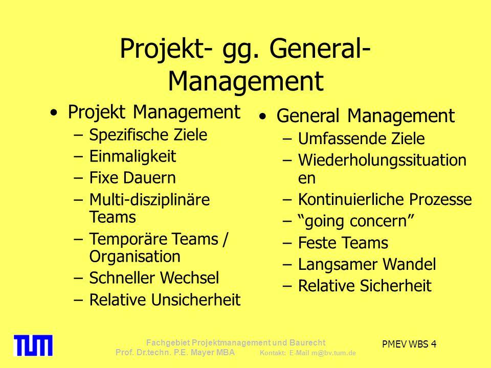 PMEV WBS 15 Fachgebiet Projektmanagement und Baurecht Prof.