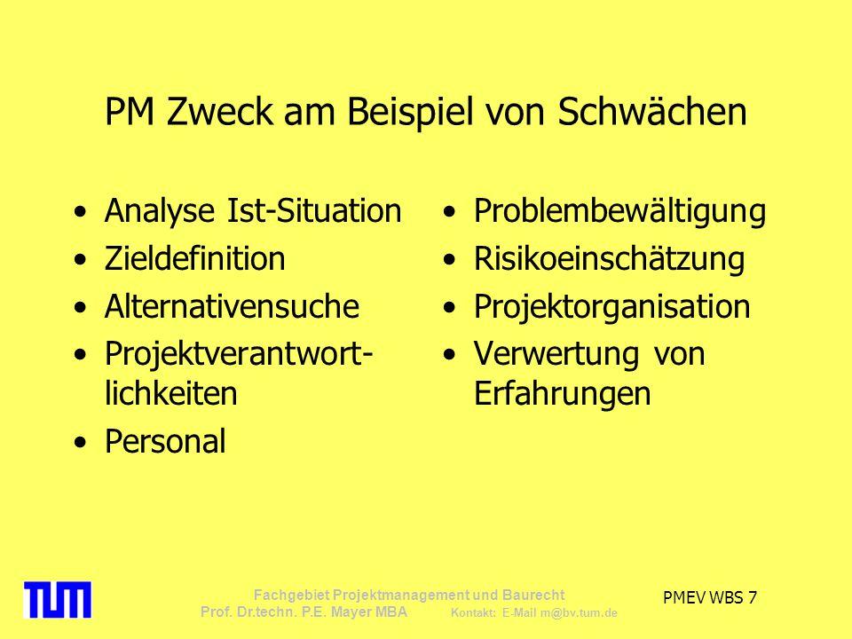 PMEV WBS 7 Fachgebiet Projektmanagement und Baurecht Prof. Dr.techn. P.E. Mayer MBA Kontakt: E-Mail m@bv.tum.de PM Zweck am Beispiel von Schwächen Ana