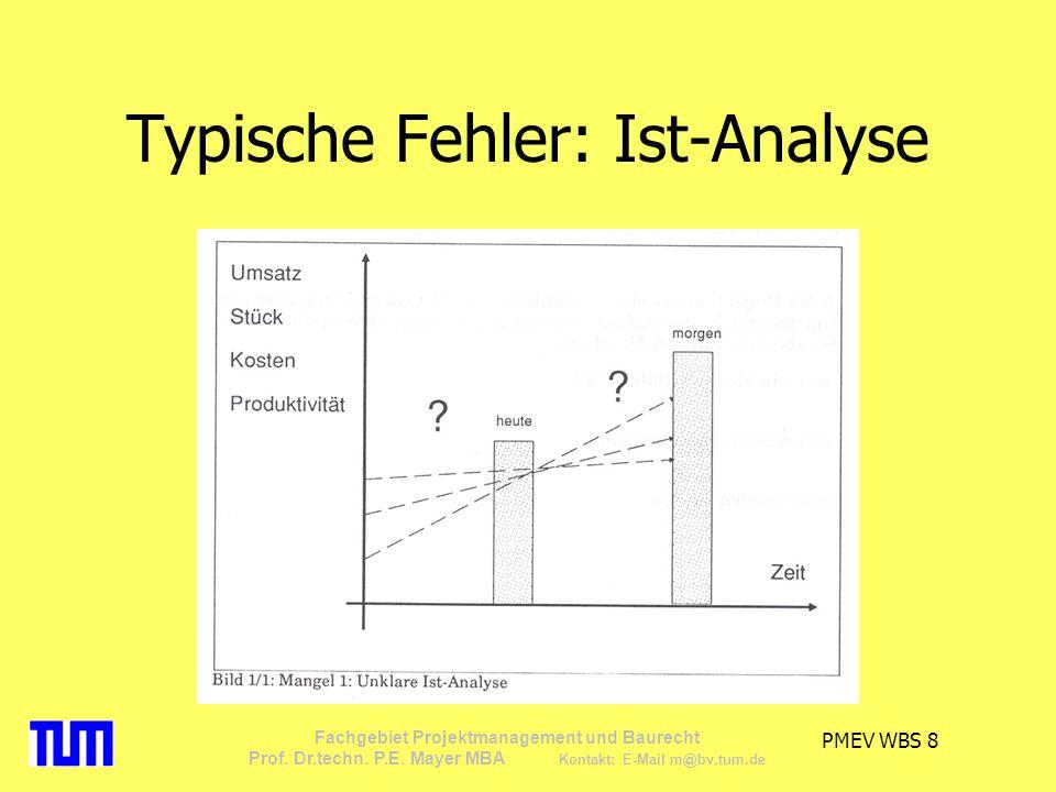 PMEV WBS 8 Fachgebiet Projektmanagement und Baurecht Prof. Dr.techn. P.E. Mayer MBA Kontakt: E-Mail m@bv.tum.de Typische Fehler: Ist-Analyse