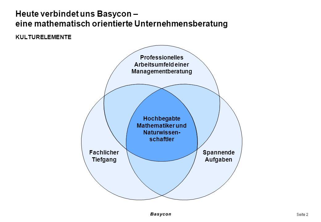 Seite 2 KULTURELEMENTE Heute verbindet uns Basycon – eine mathematisch orientierte Unternehmensberatung Professionelles Arbeitsumfeld einer Management