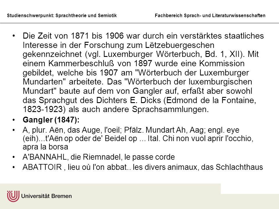 Studienschwerpunkt: Sprachtheorie und SemiotikFachbereich Sprach- und Literaturwissenschaften Die Zeit von 1871 bis 1906 war durch ein verstärktes sta