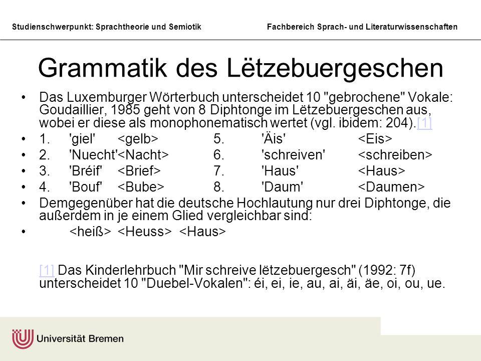Studienschwerpunkt: Sprachtheorie und SemiotikFachbereich Sprach- und Literaturwissenschaften Grammatik des Lëtzebuergeschen Das Luxemburger Wörterbuc