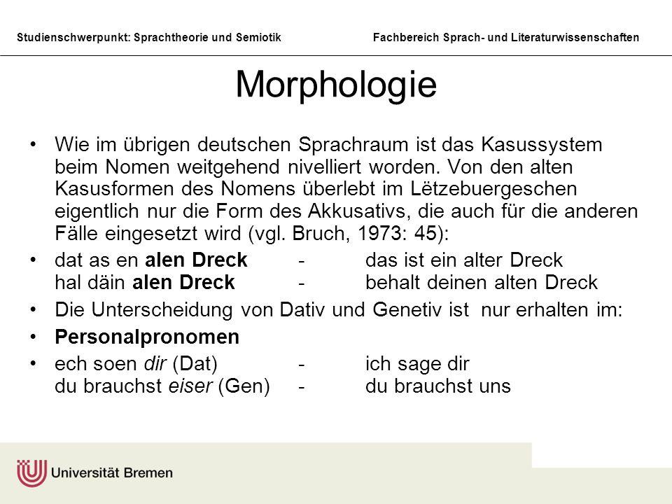 Studienschwerpunkt: Sprachtheorie und SemiotikFachbereich Sprach- und Literaturwissenschaften Morphologie Wie im übrigen deutschen Sprachraum ist das