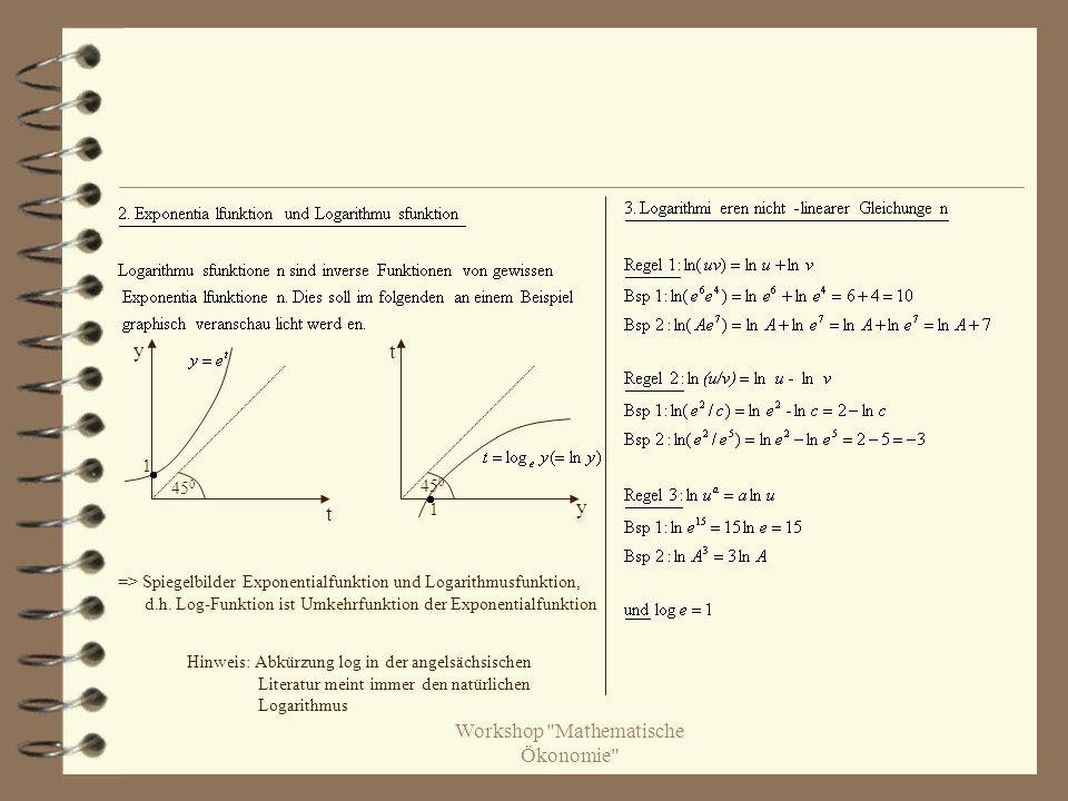 45 0 1 1 => Spiegelbilder Exponentialfunktion und Logarithmusfunktion, d.h.