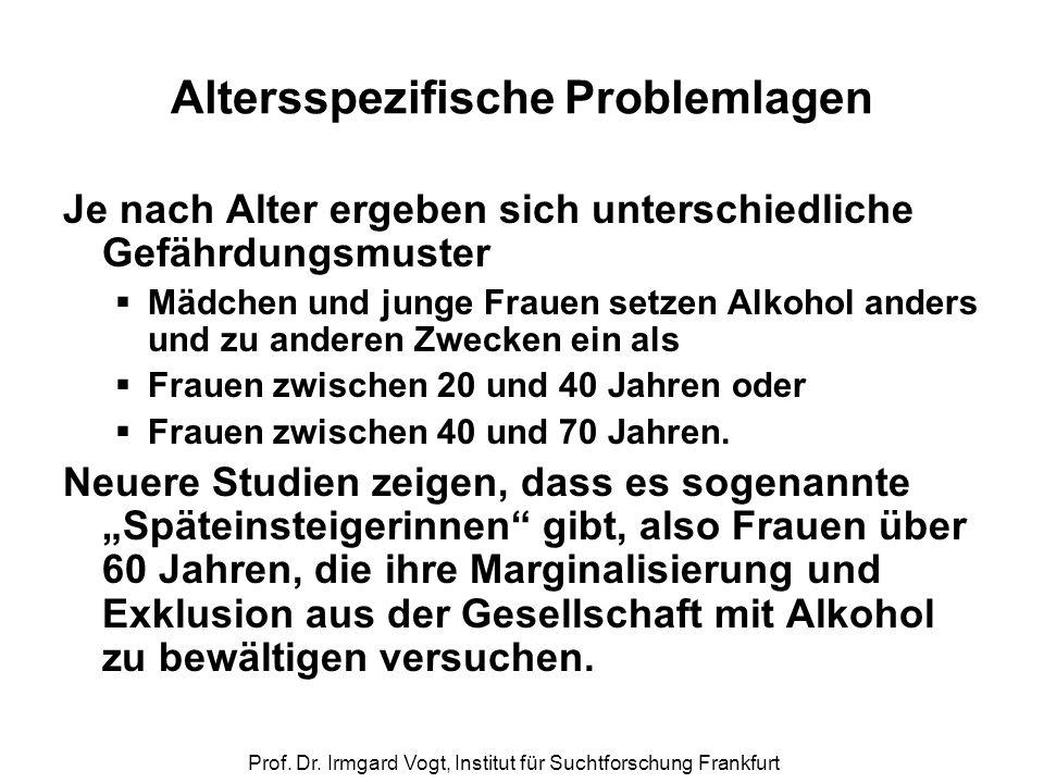 Prof. Dr. Irmgard Vogt, Institut für Suchtforschung Frankfurt Altersspezifische Problemlagen Je nach Alter ergeben sich unterschiedliche Gefährdungsmu