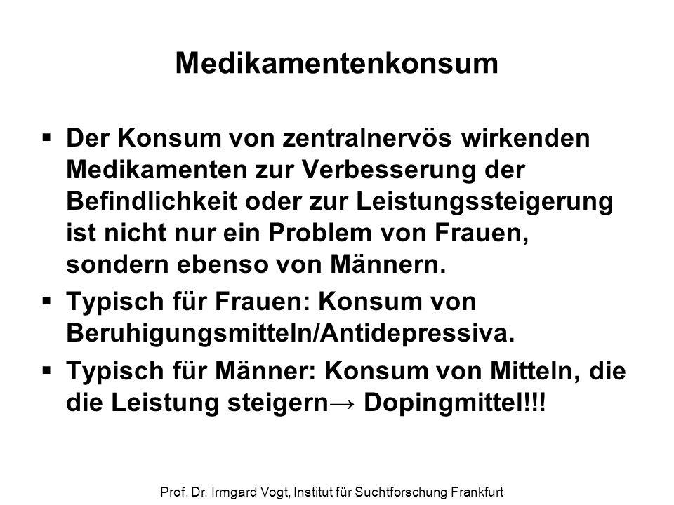 Prof. Dr. Irmgard Vogt, Institut für Suchtforschung Frankfurt Medikamentenkonsum  Der Konsum von zentralnervös wirkenden Medikamenten zur Verbesserun