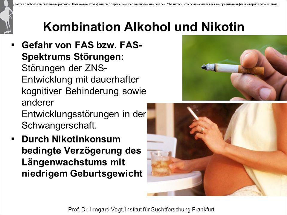 Prof. Dr. Irmgard Vogt, Institut für Suchtforschung Frankfurt Kombination Alkohol und Nikotin  Gefahr von FAS bzw. FAS- Spektrums Störungen: Störunge