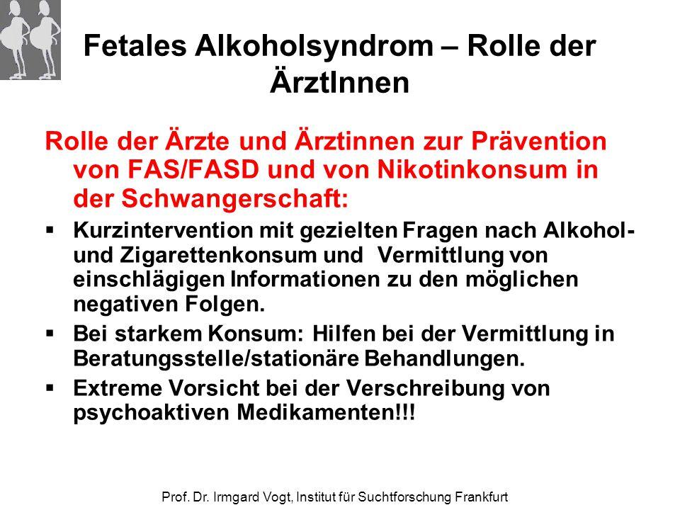 Prof. Dr. Irmgard Vogt, Institut für Suchtforschung Frankfurt Fetales Alkoholsyndrom – Rolle der ÄrztInnen Rolle der Ärzte und Ärztinnen zur Präventio