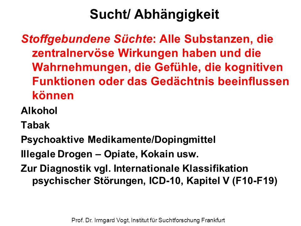 Prof. Dr. Irmgard Vogt, Institut für Suchtforschung Frankfurt Sucht/ Abhängigkeit Stoffgebundene Süchte: Alle Substanzen, die zentralnervöse Wirkungen