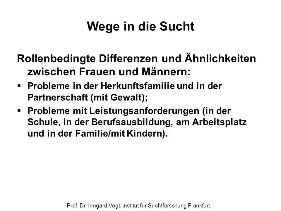 Prof. Dr. Irmgard Vogt, Institut für Suchtforschung Frankfurt Wege in die Sucht Rollenbedingte Differenzen und Ähnlichkeiten zwischen Frauen und Männe