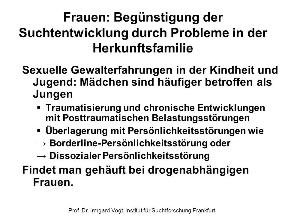 Prof. Dr. Irmgard Vogt, Institut für Suchtforschung Frankfurt Frauen: Begünstigung der Suchtentwicklung durch Probleme in der Herkunftsfamilie Sexuell