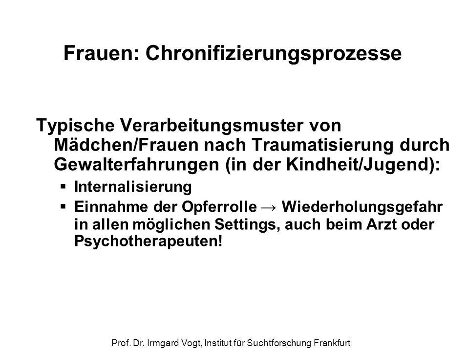 Prof. Dr. Irmgard Vogt, Institut für Suchtforschung Frankfurt Frauen: Chronifizierungsprozesse Typische Verarbeitungsmuster von Mädchen/Frauen nach Tr
