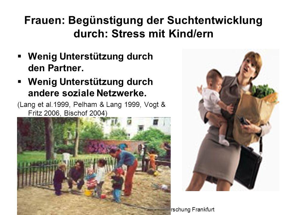 Prof. Dr. Irmgard Vogt, Institut für Suchtforschung Frankfurt Frauen: Begünstigung der Suchtentwicklung durch: Stress mit Kind/ern  Wenig Unterstützu