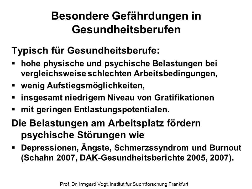 Prof. Dr. Irmgard Vogt, Institut für Suchtforschung Frankfurt Besondere Gefährdungen in Gesundheitsberufen Typisch für Gesundheitsberufe:  hohe physi