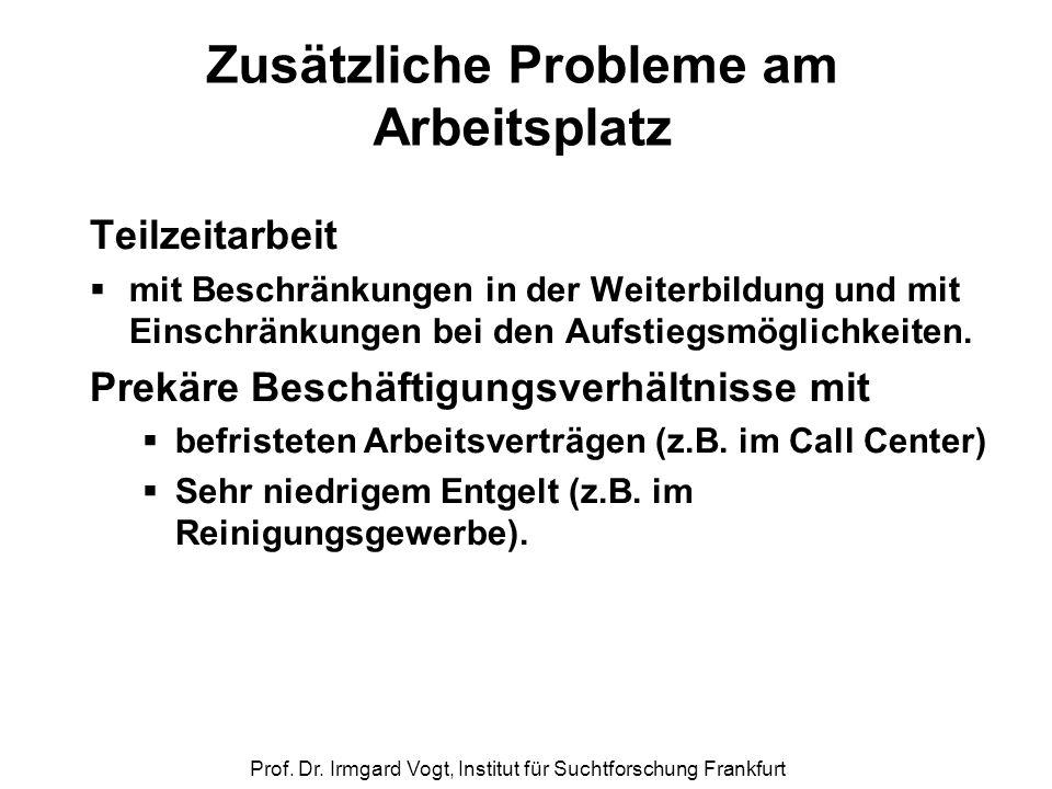 Prof. Dr. Irmgard Vogt, Institut für Suchtforschung Frankfurt Zusätzliche Probleme am Arbeitsplatz Teilzeitarbeit  mit Beschränkungen in der Weiterbi