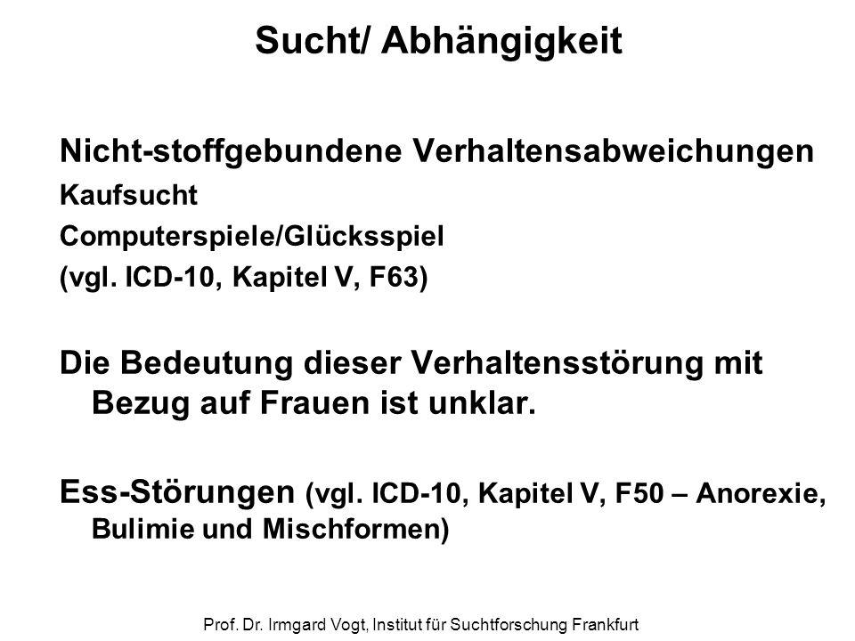 Prof. Dr. Irmgard Vogt, Institut für Suchtforschung Frankfurt Sucht/ Abhängigkeit Nicht-stoffgebundene Verhaltensabweichungen Kaufsucht Computerspiele