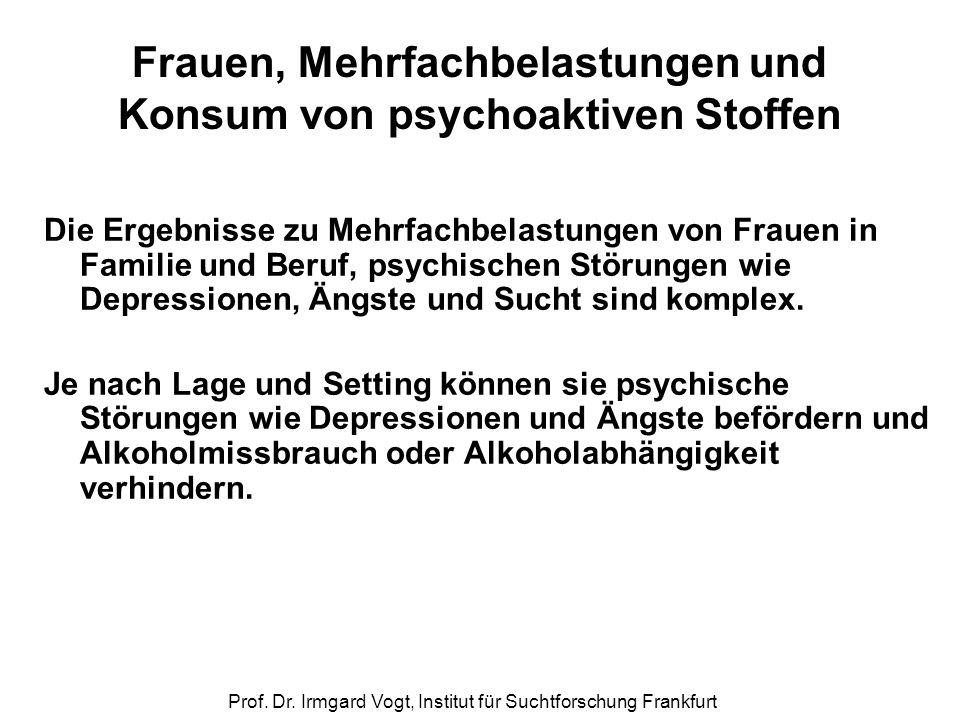 Prof. Dr. Irmgard Vogt, Institut für Suchtforschung Frankfurt Frauen, Mehrfachbelastungen und Konsum von psychoaktiven Stoffen Die Ergebnisse zu Mehrf
