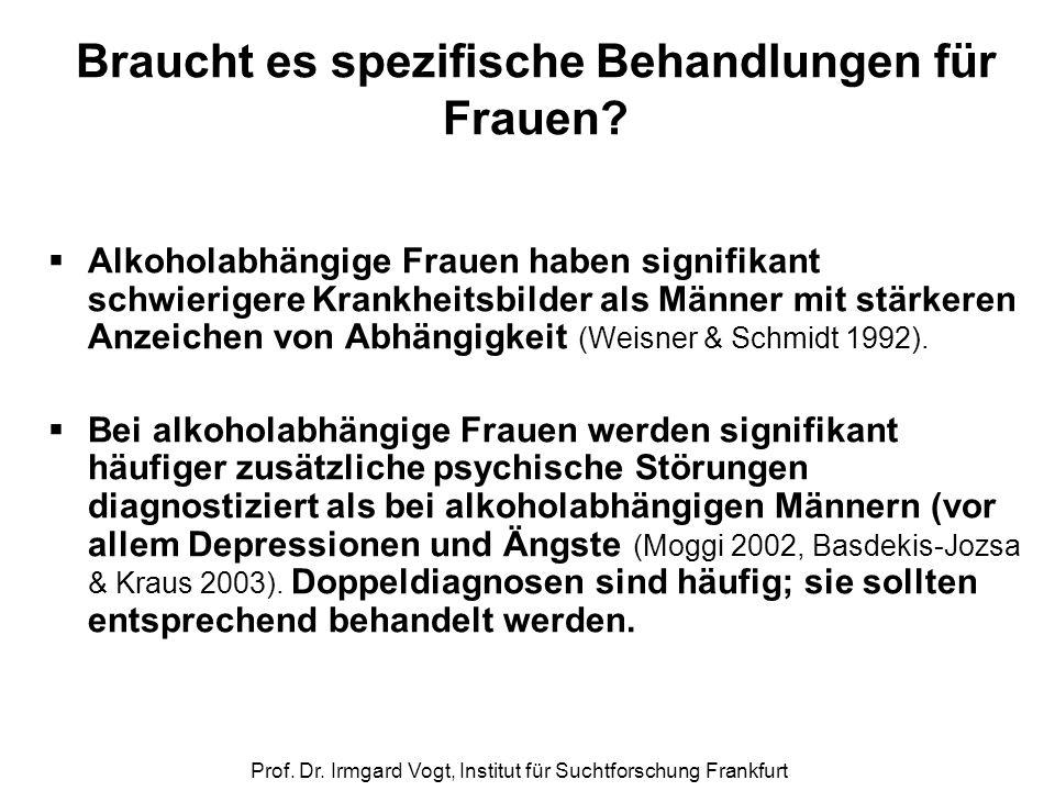 Prof. Dr. Irmgard Vogt, Institut für Suchtforschung Frankfurt Braucht es spezifische Behandlungen für Frauen?  Alkoholabhängige Frauen haben signifik