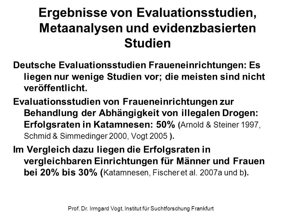 Prof. Dr. Irmgard Vogt, Institut für Suchtforschung Frankfurt Ergebnisse von Evaluationsstudien, Metaanalysen und evidenzbasierten Studien Deutsche Ev