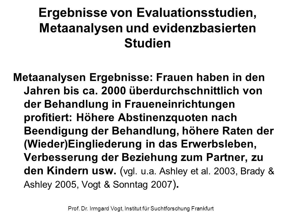Prof. Dr. Irmgard Vogt, Institut für Suchtforschung Frankfurt Ergebnisse von Evaluationsstudien, Metaanalysen und evidenzbasierten Studien Metaanalyse