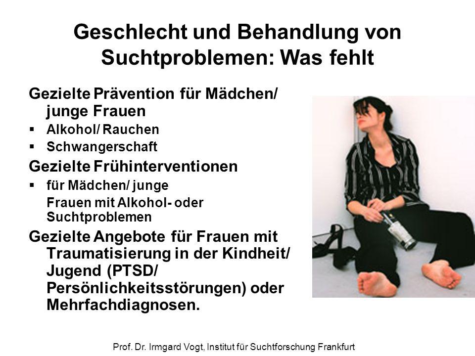 Prof. Dr. Irmgard Vogt, Institut für Suchtforschung Frankfurt Geschlecht und Behandlung von Suchtproblemen: Was fehlt Gezielte Prävention für Mädchen/
