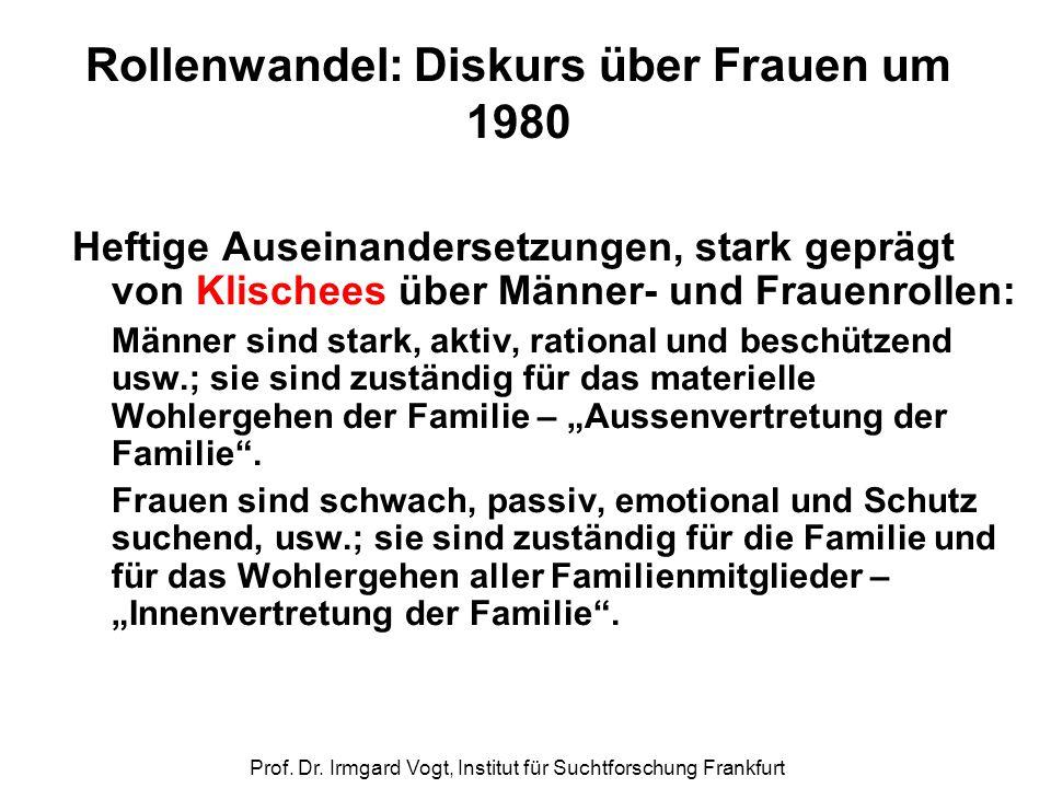 Prof. Dr. Irmgard Vogt, Institut für Suchtforschung Frankfurt Rollenwandel: Diskurs über Frauen um 1980 Heftige Auseinandersetzungen, stark geprägt vo