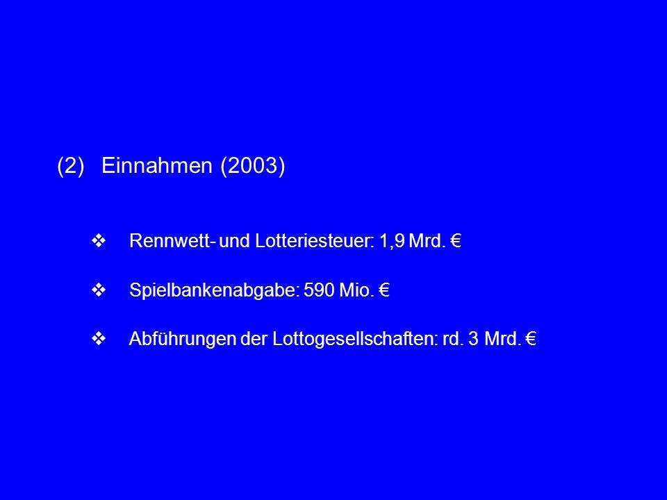 (2)Einnahmen (2003)  Rennwett- und Lotteriesteuer: 1,9 Mrd. €  Spielbankenabgabe: 590 Mio. €  Abführungen der Lottogesellschaften: rd. 3 Mrd. €