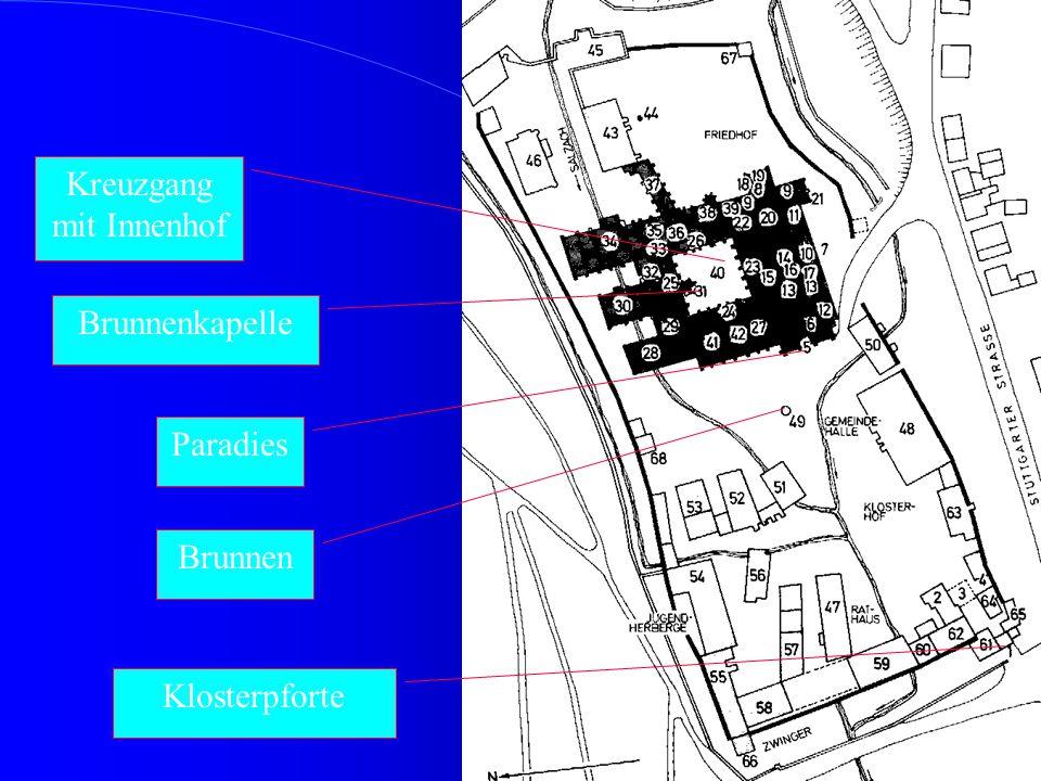 6 Klosterkirche Maulbronn Paradies Ursprünglich Schlafräume; jetzt Unterrichtsräume Hof mit Brunnen; jetzt Pausenhof