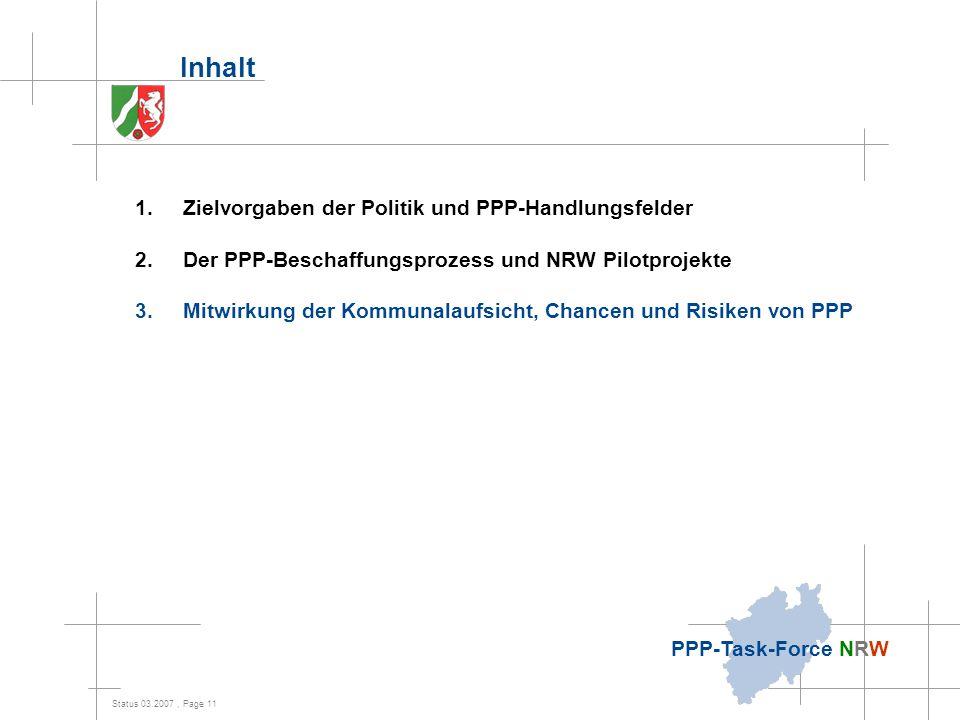 Status 03.2007, Page 11 PPP-Task-Force NRW Inhalt 1.Zielvorgaben der Politik und PPP-Handlungsfelder 2.Der PPP-Beschaffungsprozess und NRW Pilotprojek